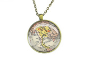1936 vintage Thailand map necklace round silver pendant forever love gift for mother