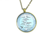 1972 Maldives map necklace round silver pendant love gift for girlfriend
