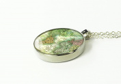 1815 World map necklace round silver pendant love gift for girlfriend