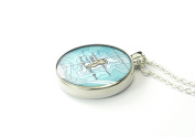 1957 vintage Island of Sal map necklace Cape Verde round silver pendant forever love gift for mother