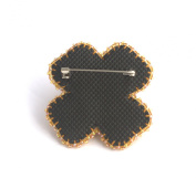 Black Velvet - Four Leaf Clover Brooch - Costume Jewellery