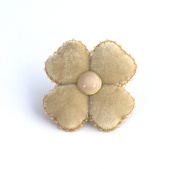 Beige Velvet - Four Leaf Clover Brooch - Costume Jewellery