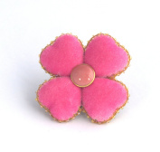 Pink Velvet - Four Leaf Clover Brooch - Costume Jewellery