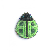 Novelty Ladybird Brooch Green Porcelain and Glass Beads - Jewellery
