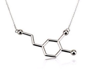 """Sterling Silver Plated Dopamine Chemical Molecule """"Feel-Good"""" Necklace"""