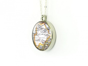Botswana map necklace round silver pendant gift for mother