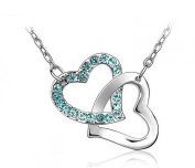 Interlocking Double Heart Pendant Blue turquoise Crystal Rhinestone Silver Chain.