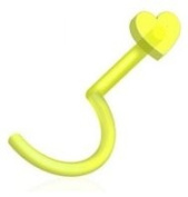Piercing Boutique Flexible Bioflex Nose Stud Hook With 3mm Heart 20g (0.8mm) One Piece Florescent Green