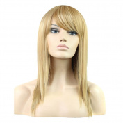 Fashion Long Straight Cosplay Wig Synthetic Hair Blonde Wig Women Full Party Wigs with Bangs 60cm