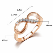GGG Jewellery Number 8 Rose Gold Plated Infinity Crystal Ring with Zircon Size US 9
