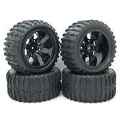 RC 1/10 Truck Off-Road Car Rubber Tyres Wheel Rim 5 Spoke Black RC Car Parts Pack of 4