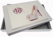 White Cotton Cards 18th Birthday Tiny Album Glitter Ball and Shoes