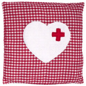 Cherry Stone Pillow Checked with Heart Design Red