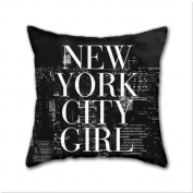 Natural cotton DIY Decorative Pillow Cases,New York City Girl Black & White Skyline Vogue Typography Cotton Linen Square Throw Pillow Case ,Cover Size:18 x 18 Inch