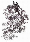 GGSELL Extra large dimension Length 12.6 X Wide 22cm black and white dragon temporary tattoos for full back for men""