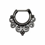 Gekko Body Jewellery Tribal Swirls Black Surgical Steel Septum Clicker Nose Daith 1.2mm