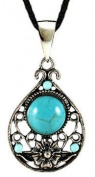 Hand made antique silver plated fashion Earrings & Pendant set with turquoise stones. Beautifully designed and hand finished to a very high jewellery standard.