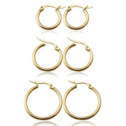 UM Jewellery Classic Round Women's Hoop Earrings Surgical Stainless Steel Hypoallergenic,Gold Tone