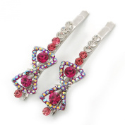 Pair Of Fuchsia/Pink/ AB. Crystal 'Bow' Hair Slides In Rhodium Plating - 60mm Length