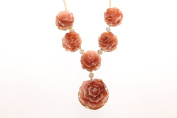 Acrylic Rose Pink Brown shades and Gold tone statement bib necklace