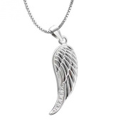findout ladies sterling silver diamond angel wings pendant necklace 46cm