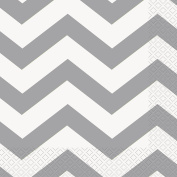 Silver Chevron Paper Napkins, Pack of 16