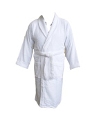 Adult Shawl Collar Robe, White, 100% Cotton Terry Towelling. Size XXL