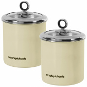 2 Piece Accents 1.7L Large Cream Canister Tea Sugar Coffee Biscuits Food Kitchen Storage
