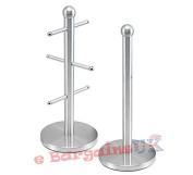 SQ Professional Stainless Steel 6 Mug Tree and Kitchen Holder Set