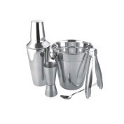 Stainless steel Bar set, cocktail set, cocktail shaker with ice bucket tongs and spoon.