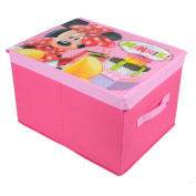 Pink Minnie Mouse Character Design Folding Jumbo Storage Box with Attached Lid
