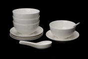4 x New Bone China Porcelain Soup Bowl/Cereal/Rice Bowl with Saucer and Spoon