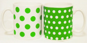 Green Dots and Spots Mugs Set of Six Porcelain Green Mugs Hand Decorated in the UK Free UK Delivery