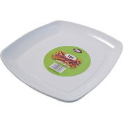 1 x WHITE PLASTIC DISPOSABLE SQUARE SERVING PLATTER/PLATE - 40cm x 40cm Great for sharing.