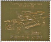 22 Carat Gold Foil stamp commemorating the first 100 years of Automobiles - Rolls Royce / Zambia