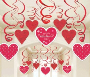 Valentines Day Red & White Heart Swirl Decorations x 30 - Value Pack