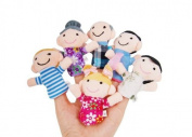 Homgaty 6PCS Family Member Finger Puppets Toy Play Learn Story Doll Bag Boy Girl Kids Gift