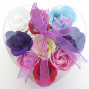 Valentine Heart, Charming Rose Scent Bath Bomb, Nine Colourful Rose Flower with Heart Gift Box. Dark Purple+red+pink+yello+blue +White6
