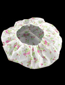 uxcell Woman Pink Flower Pattern Elastic Band Water Resistant Shower Bath Cap