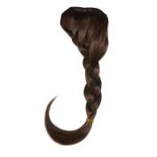 Abwin Medium Brown Braided Clip in Bangs