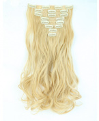 "Fashion 17""43cm Curly 8pcs Full Head Hairpiece Clip in Hair Extensions Golden Mix Bleach Blonde 8piece 18clips Hairpiece Party Wedding Hair"