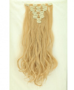 """Fashion 17""""43cm Curly 8pcs Full Head Hairpiece Clip in Hair Extensions Dark Blonde Mix Bleach Blonde 8piece 18clips Hairpiece Party Wedding Hair"""