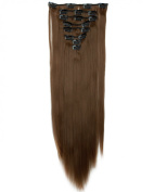 "Sexy 23""58cm Straight 8pcs Light Brown Full Head Hairpiece Clip in Hair Extensions 8piece 18clips Hairpiece Party Wedding Hair"