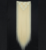 "Sexy 23""58cm Straight 8pcs Bleach Blonde Full Head Hairpiece Clip in Hair Extensions 8piece 18clips Hairpiece Party Wedding Hair"
