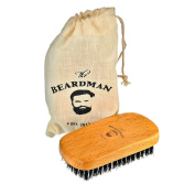The Beardman Beard & Hair Brush, Bamboo/Beachwood with 100% Soft Boar Bristles, Comb Beards and Moustache Complete with Muslin Style Cotton Gift Bag