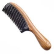 pureGLO Green Sandalwood Hair Comb | No Static Detangling Natural Aroma Handmade Buffalo Horn Comb | Free Premium Giftbox