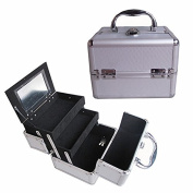 BerucciTM Professional Silver 20cm Lightweight Aluminium Makeup Artist Organiser Kit with 2 Extendable Trays, Aluminium Trimming, Lock and Keys, and Mirror