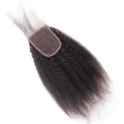 Aiva Hair Brazilian Virgin Hair with Closure Kinky Straight Human Hair with Baby Hair Free Part Lace Closure 4x 4 Top Closure