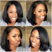 PlatinumHair black colour synthetic lace front short bob straight wig for black women 36cm