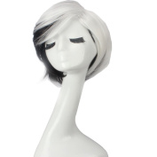 Wig Mall Cosplay Wig for Women Black White Mixed Hair Synthetic Short Straight